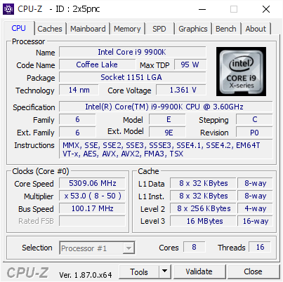 Intel Core i9 9900K @ 5309 06 MHz - CPU-Z VALIDATOR