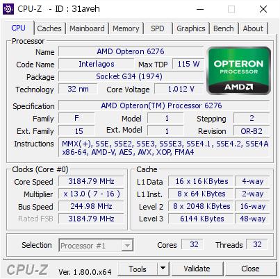 Amd Opteron 6276 3184 79 Mhz Cpu Z Validator