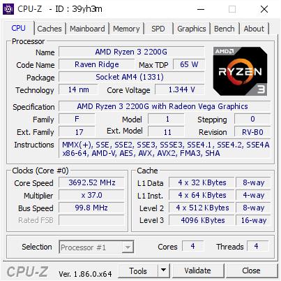 AMD Ryzen 3 2200G @ 3692 52 MHz - CPU-Z VALIDATOR