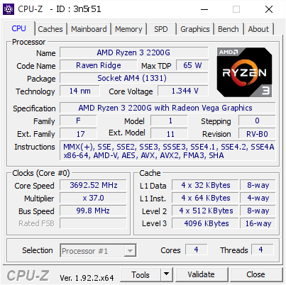 screenshot of CPU-Z validation for Dump [3n5r51] - Submitted by  RYZEN-GAMER  - 2020-07-29 22:36:42