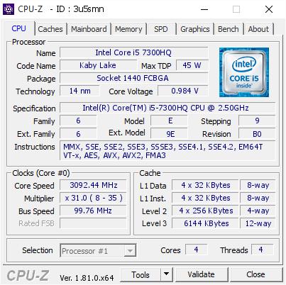 Intel Core i5 7300HQ @ 3092 44 MHz - CPU-Z VALIDATOR
