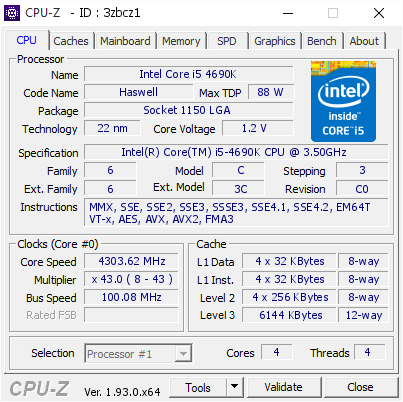 screenshot of CPU-Z validation for Dump [3zbcz1] - Submitted by  i5-4690K  - 2020-09-18 19:15:24