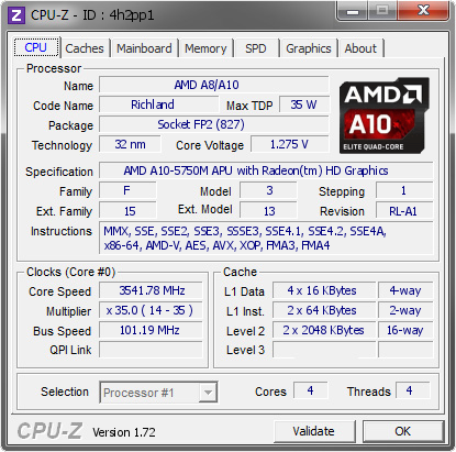 AMD A8/A10 @ 3541 78 MHz - CPU-Z VALIDATOR