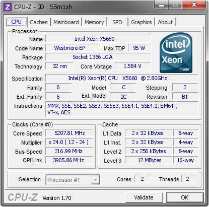screenshot of CPU-Z validation for Dump [55m1xh] - Submitted by  Xevipiu  - 2014-08-06 15:08:18