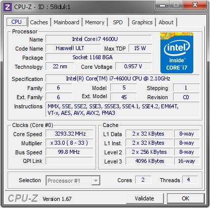 Intel Core i7 4600U @ 3293 32 MHz - CPU-Z VALIDATOR