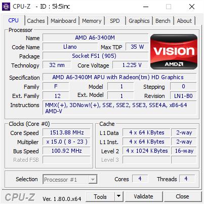 Amd A6 3400m 1513 88 Mhz Cpu Z Validator