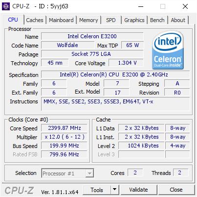 Intel Celeron E3200 @ 2399 87 MHz - CPU-Z VALIDATOR