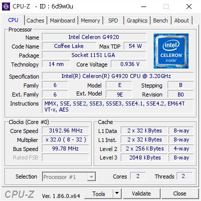 Intel Celeron G4920 @ 3192 96 MHz - CPU-Z VALIDATOR