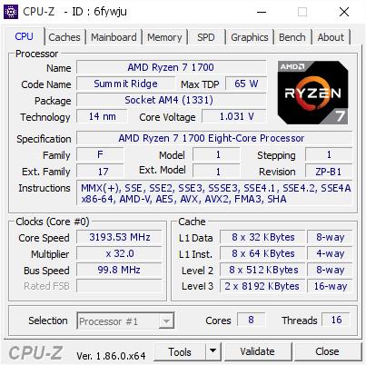 AMD Ryzen 7 1700 @ 3193 53 MHz - CPU-Z VALIDATOR