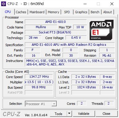 Amd E1 6010 1347 27 Mhz Cpu Z Validator