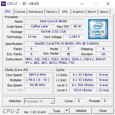 Intel Core i5 8600K @ 4897 6 MHz - CPU-Z VALIDATOR