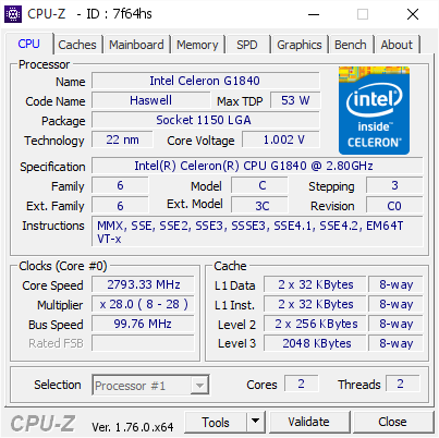 Intel Celeron G1840 @ 2793 33 MHz - CPU-Z VALIDATOR
