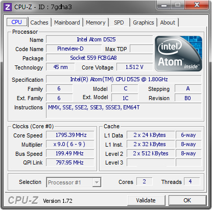 Intel Atom D525 @ 1795 39 MHz - CPU-Z VALIDATOR