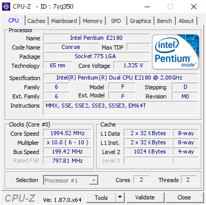 Intel Pentium E2180 @ 1994 52 MHz - CPU-Z VALIDATOR