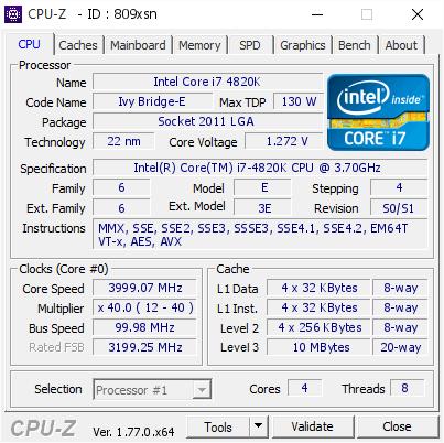Intel Core i7 4820K @ 3999 07 MHz - CPU-Z VALIDATOR