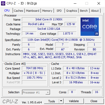 screenshot of CPU-Z validation for Dump [8n2zgs] - Submitted by  ROG-Fisher  - 2021-03-27 12:35:09