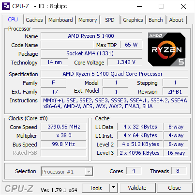 Amd Ryzen 5 1400 3790 95 Mhz Cpu Z Validator