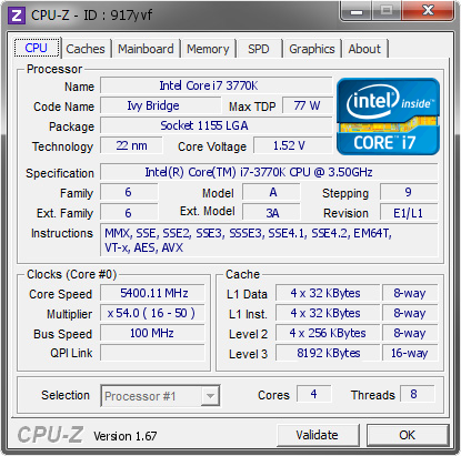 screenshot of CPU-Z validation for Dump [917yvf] - Submitted by  Enterprise24  - 2013-10-15 01:10:39