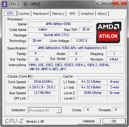 Amd Athlon 5350 2418 63 Mhz Cpu Z Validator