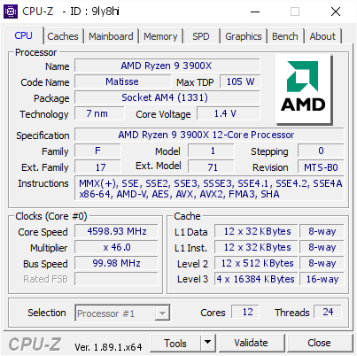 screenshot of CPU-Z validation for Dump [9ly8hi] - Submitted by  DEMONLORD-RYZEN  - 2019-08-26 11:15:58