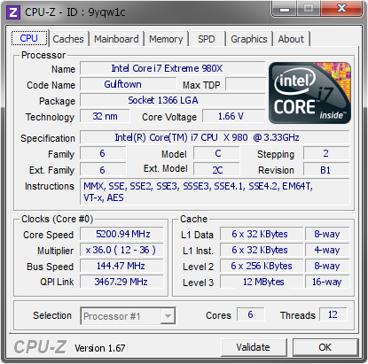 Intel Core i7 Extreme 980X @ 5200 94 MHz - CPU-Z VALIDATOR