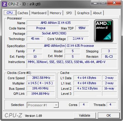 Amd Athlon Ii X4 635 2892 58 Mhz Cpu Z Validator
