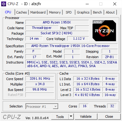 screenshot of CPU-Z validation for Dump [absjfv] - Submitted by  THREADRIPPER  - 2018-01-24 06:18:26