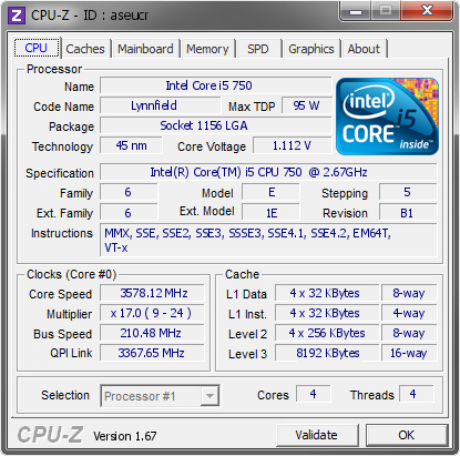 screenshot of CPU-Z validation for Dump [aseucr] - Submitted by  trodas  - 2014-07-09 15:07:26