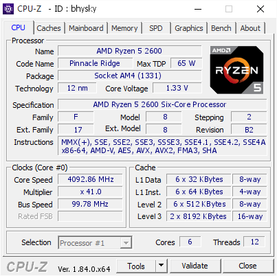 screenshot of CPU-Z validation for Dump [bhysky] - Submitted by  AMD-RYZEN-2600  - 2018-05-02 19:38:36