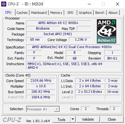 amd athlon 64 x2 4000 2109 66 mhz cpu z validator