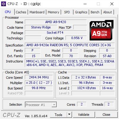 Amd A9 9420 2494 94 Mhz Cpu Z Validator