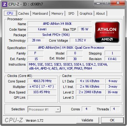 AMD Athlon X4 860K @ 4863 78 MHz - CPU-Z VALIDATOR