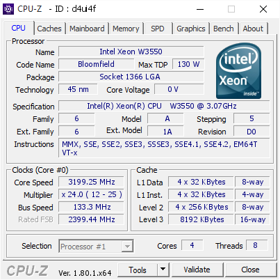 Intel Xeon W3550 @ 3199 25 MHz - CPU-Z VALIDATOR