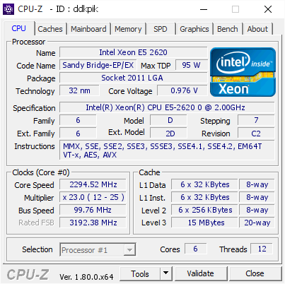 Intel Xeon E5 2620 @ 2294 52 MHz - CPU-Z VALIDATOR