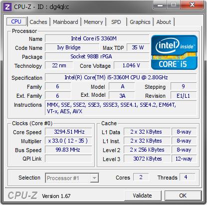 Intel Core i5 3360M @ 3294 51 MHz - CPU-Z VALIDATOR