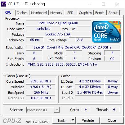 Intel Core 2 Quad Q6600 @ 2393 96 MHz - CPU-Z VALIDATOR