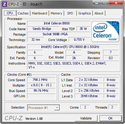 Intel Celeron B800 @ 798 1 MHz - CPU-Z VALIDATOR