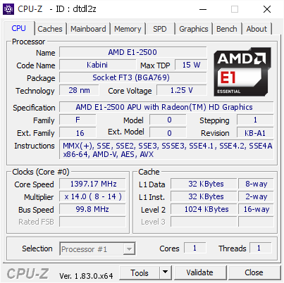 Top 15 Highest Frequencies For Amd E1 2500 Apu With Radeon Tm Hd Graphics Cpu Z Validator