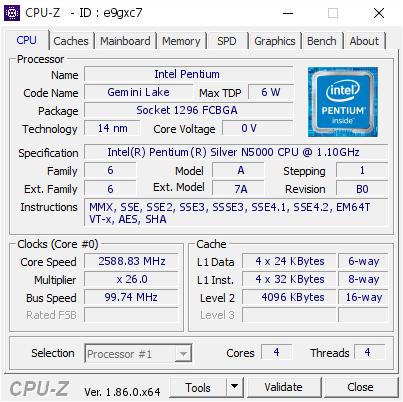 Intel Pentium @ 2588 83 MHz - CPU-Z VALIDATOR
