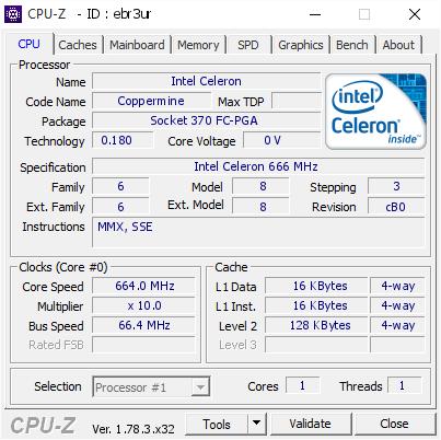 Intel Celeron @ 664 MHz - CPU-Z VALIDATOR