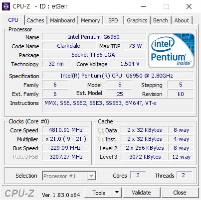 Intel Pentium G6950 @ 4810 91 MHz - CPU-Z VALIDATOR