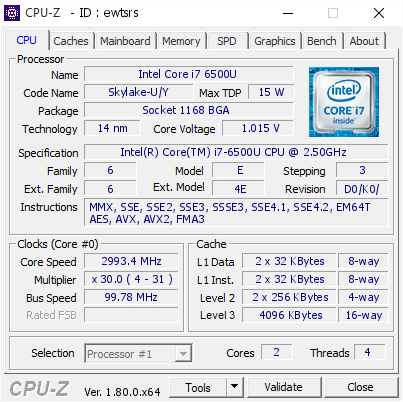 Intel Core i7 6500U @ 2993 4 MHz - CPU-Z VALIDATOR