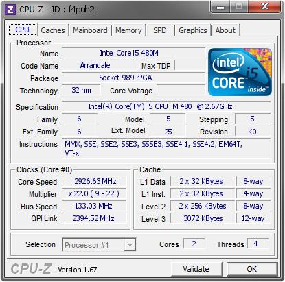 Intel Core I5 480m 2926 63 Mhz Cpu Z Validator
