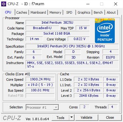 Intel Pentium 3825U @ 1900 24 MHz - CPU-Z VALIDATOR