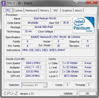 Intel Pentium P6100 @ 1064 13 MHz - CPU-Z VALIDATOR
