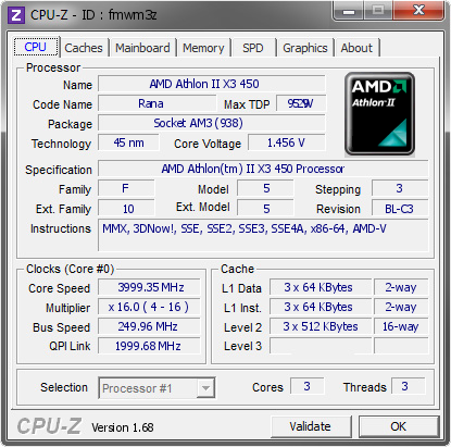 screenshot of CPU-Z validation for Dump [fmwm3z] - Submitted by  TONY  - 2014-04-21 15:04:59