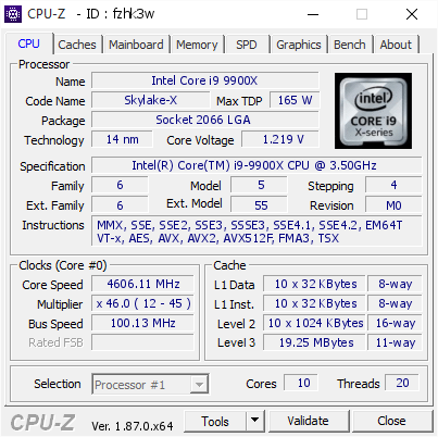 screenshot of CPU-Z validation for Dump [fzhk3w] - Submitted by  Fobus  - 2019-01-23 16:15:24