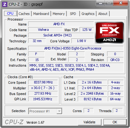 screenshot of CPU-Z validation for Dump [gsqepf] - Submitted by  der8auer  - 2013-12-03 11:12:11