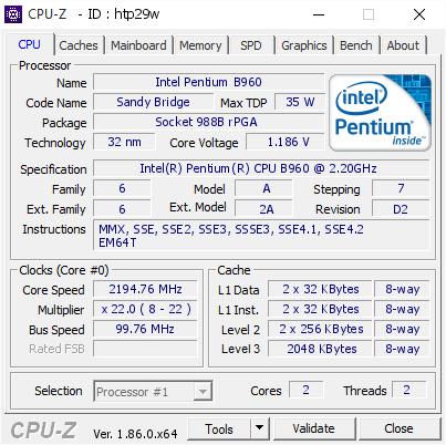 Intel Pentium B960 @ 2194 76 MHz - CPU-Z VALIDATOR