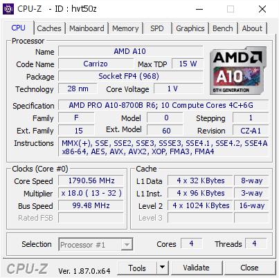 AMD A10 @ 1790 56 MHz - CPU-Z VALIDATOR